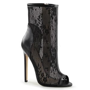 Schwarz Netz 13 cm SEXY-1008 Open Toe Damen Stiefeletten