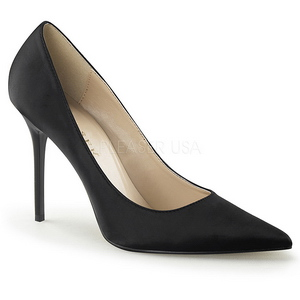 Schwarz Satin 10 cm CLASSIQUE-20 Damen Pumps Stiletto Absatz