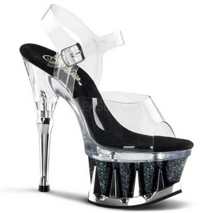 Schwarz Transparent 16,5 cm SPIKY-608MG High Heels Stilettos