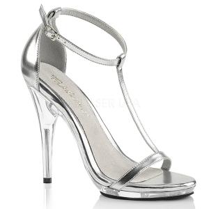 Silber 12,5 cm Fabulicious POISE-526 Sandaletten mit high heels