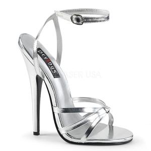 Silber 15 cm Devious DOMINA-108 Sandaletten mit high heels