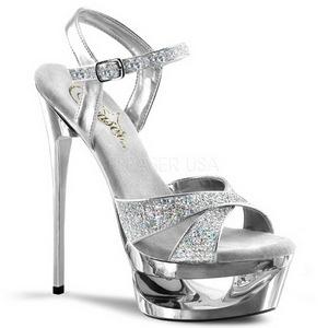 Silber Glitter 16,5 cm Pleaser ECLIPSE-619G High Heels Stilettos