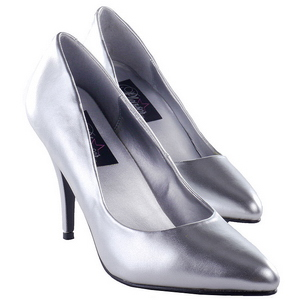 Silber Matt 10 cm VANITY-420 High Heels Pumps für Männer