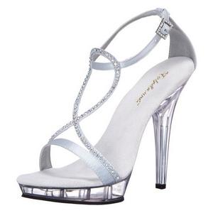 Silber Satin 13 cm LIP-156 High Heel Sandaletten Damen