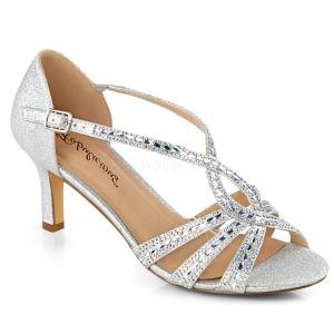 Silber glitzern 6,5 cm Fabulicious MISSY-03 Sandaletten mit high heels