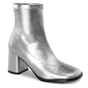 Silber kunstleder 7,5 cm GOGO-150 stretch ankel boots mit blockabsatz