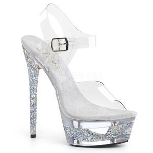Silver 16,5 cm ECLIPSE-608GT High Heeled Stiletto Sandals