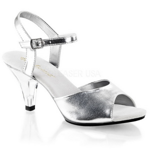 Silver Matte 8 cm BELLE-309 Womens High Heel Sandals