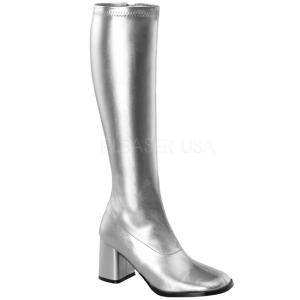 Silver Pu 7,5 cm Funtasma GOGO-300 Women Knee Boots