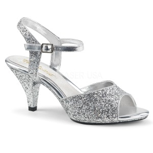 Silver glitter 8 cm Fabulicious BELLE-309G low heeled sandals
