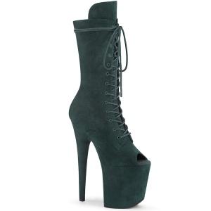 Vegan 20 cm FLAMINGO-1051FS Exotic platform peep toe boots green