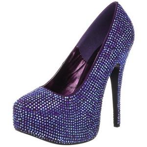Violett Strass 14,5 cm Burlesque TEEZE-06R Plateau Damen Pumps Schuhe