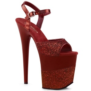 Weinrot Glitzern 20 cm Pleaser FLAMINGO-809-2G Plateau High Heels