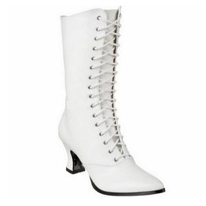 Weiss 7 cm VICTORIAN-120 Damen Stiefeletten mit Schnürsenkel