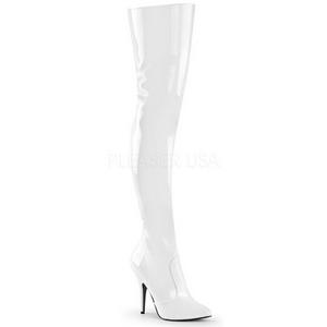 Weiss Lack 13 cm SEDUCE-3010 Overknee Stiefel für Männer