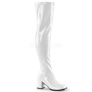 Weiss Lack 8 cm GOGO-3000 Overknee Stiefel für Damen