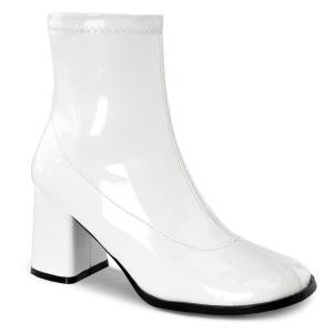 Weiss lackleder 7,5 cm GOGO-150 stretch ankel boots mit blockabsatz
