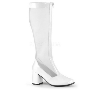 White 7,5 cm GOGO-307 Mesh womens boots with high heels