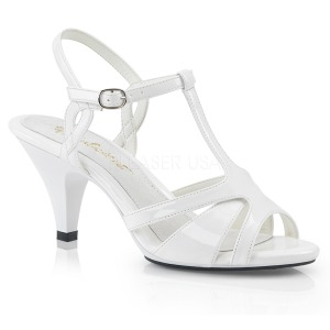 White 8 cm Fabulicious BELLE-322 low heeled sandals