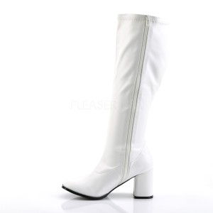 White Leatherette 7,5 cm GOGO-300WC knee high womens boots with wide calf