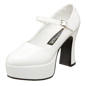 White Shiny 11 cm MARYJANE-50 Mary Jane Platform Pumps
