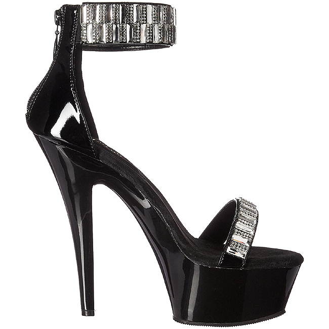 High Heels Glitzersteine 15 cm KISS 269RS Chrome Plateau