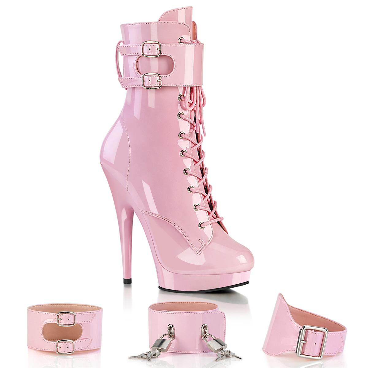 Kunstleder 12,5 cm GLORY-501F-8 Rosa high heels mules mit
