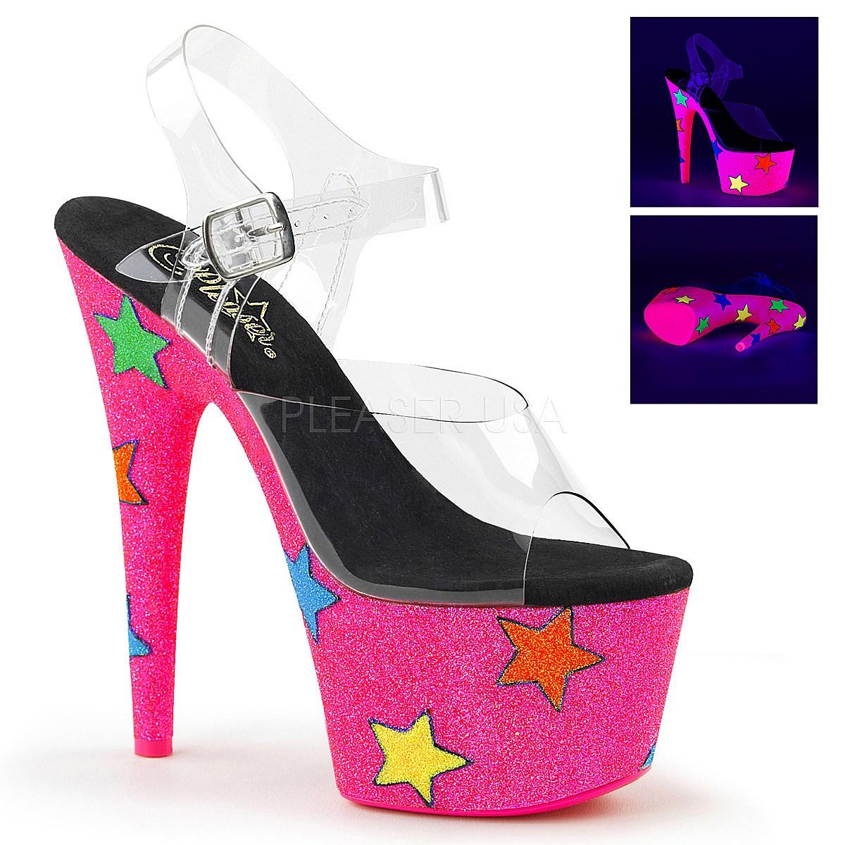 Neon glitter 18 cm Pleaser ADORE 708STR pole dance high heels schuhe