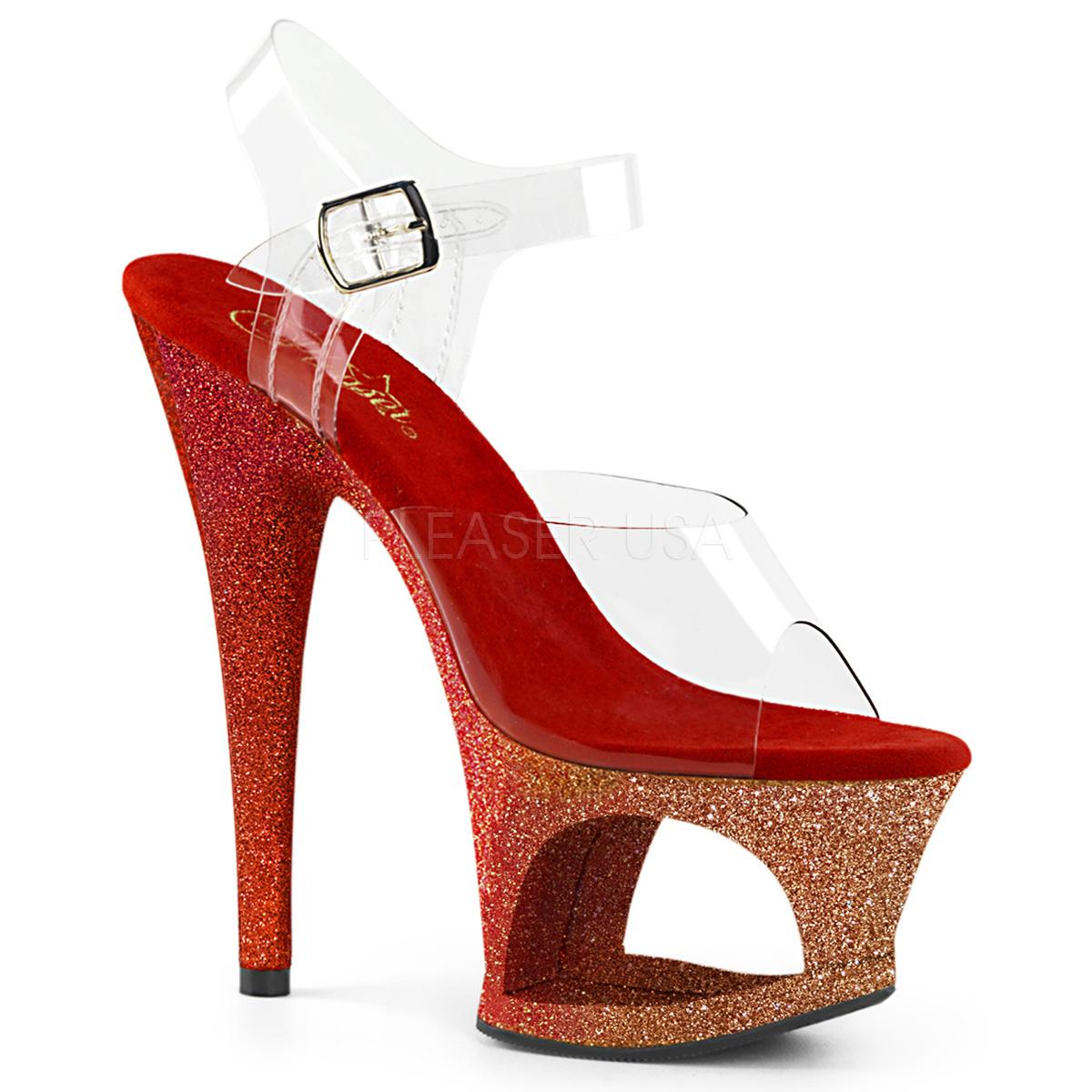 Rot glitter 18 cm Pleaser MOON 708OMBRE pole dance high heels schuhe