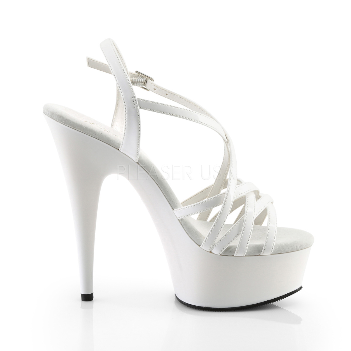 White Womens 15 Heel Pleaser Cm High Delight Sandals 613 by7mfgvIY6