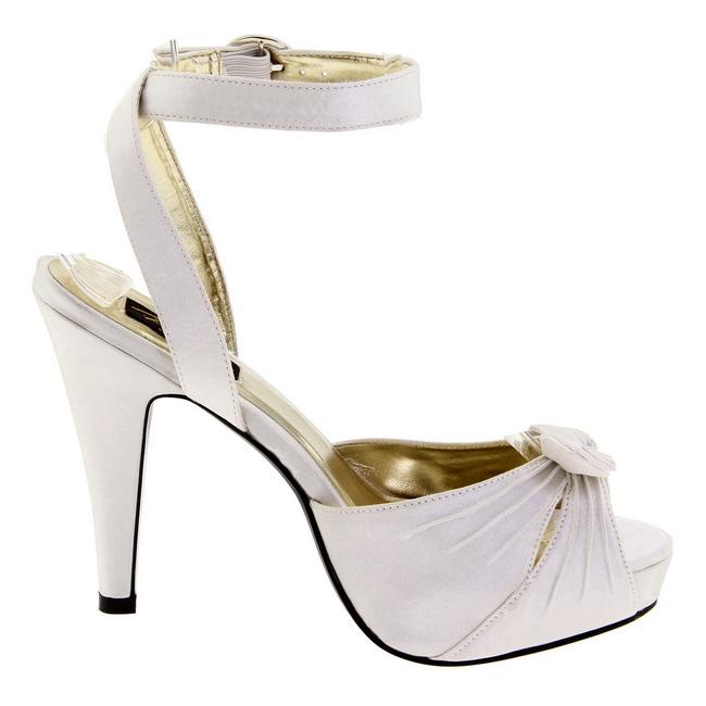 f8e9a60d939 White Satin 12 cm PINUP COUTURE BETTIE-04 High Heels Platform