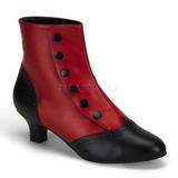 Schwarz Rot 5 cm FLORA-1023 Damen Stiefeletten