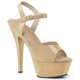 Beige 15 cm Pleaser KISS-209 Sandaletten mit high heels