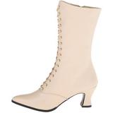 Beige 7 cm VICTORIAN-120 Damen Stiefeletten mit Schnürsenkel