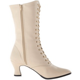 Beige 7 cm VICTORIAN-120 Lace Up Ankle Calf Women Boots