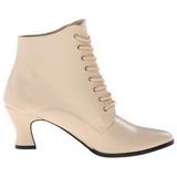 Beige 7 cm VICTORIAN-35 Lace Up Ankle Calf Women Boots
