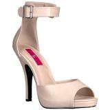 Beige Kunstleder 12,5 cm EVE-02 grosse grössen sandaletten damen