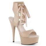 Beige Kunstleder 15 cm DELIGHT-600-14 pleaser sandaletten mit plateau