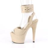 Beige Kunstleder 18 cm ADORE-791FS pleaser high heels mit knöchelriemen