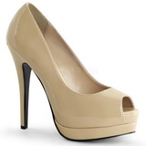 Beige Lack 13,5 cm BELLA-12 Damen Pumps Stiletto Absatz