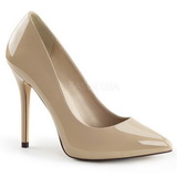 Beige Lack 13 cm AMUSE-20 Damen Pumps Stiletto Absatz
