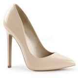 Beige Lack 13 cm SEXY-20 Damen Pumps Schuhe Flach