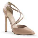 Beige Lack 13 cm SEXY-26 Klassische Pumps Schuhe Damen