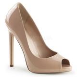 Beige Lack 13 cm SEXY-42 Klassische Pumps Schuhe Damen