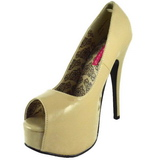 Beige Lack 14,5 cm Burlesque TEEZE-22 Damen Pumps Stiletto Absatz