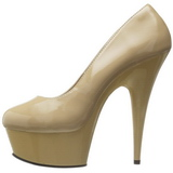 Beige Lack 15 cm Pleaser DELIGHT-685 Plateau Pumps