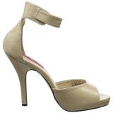 Beige Lackleder 12,5 cm EVE-02 grosse grössen sandaletten damen