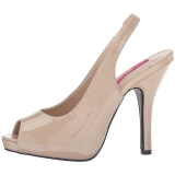 Beige Lackleder 12,5 cm EVE-04 grosse grössen sandaletten damen