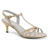 Beige Lackleder 6 cm KITTEN-06 grosse grössen sandaletten damen