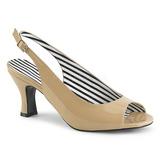 Beige Lackleder 7,5 cm JENNA-02 grosse grössen sandaletten damen